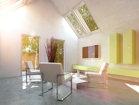 skylights: Modern simple cottage living room interior with grouped metal frame armchair around a low table and wall mounted yellow cabinets and television below skylight windows
