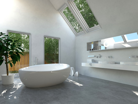 bath house: Modern bathroom interior with a white freestanding central oval bathtub and a wall-mounted double vanity unit with glass windows and skylights with a view of green trees