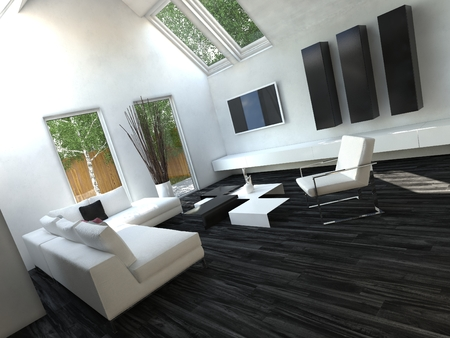 Pure White Sofa in Beautiful Living Room with Black Flooring and White Walls photo