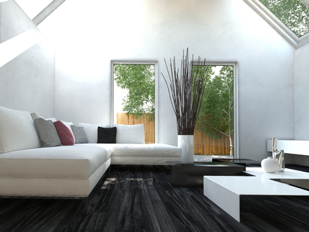 Modern black and white design style living room interior with nice furniture photo