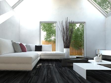 case moderne: Moderno bianco e nero di stile living design sala interna con mobili bella