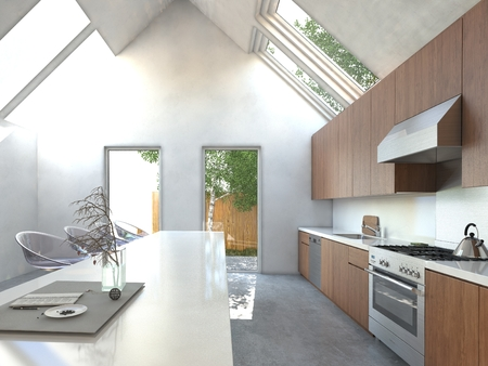 fitted: Spacious open-plan kitchen with a bar counter, modern modular stools, built in wooden cabinets and appliances in a high volume house with skylights