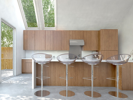 Small compact open-plan kitchen or kitchenette interior with wooden cabinets and a bar counter with four modern modular stools photo