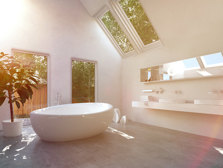 Modern bathroom interior with a white freestanding central oval bathtub and a wall-mounted double vanity unit with glass windows and skylights with a view of green trees photo