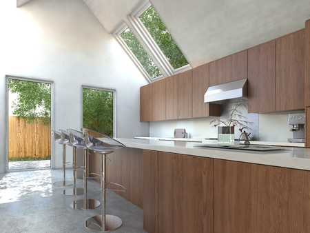 Compact modern open-plan kitchen with wooden cabinets, a bar counter and contemporary modular stools with a plate glass door opening onto a small yard and skylights photo