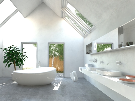 Modern light bright bathroom interior with a double wall-mounted vanity unit and mirror, freestanding ceramic bathtub and double volume sailing into the apex of the roof with skylights Stockfoto