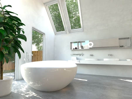 skylights: Modern bathroom interior with a white freestanding central oval bathtub and a wall-mounted double vanity unit with glass windows and skylights with a view of green trees