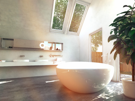 Beautiful White-Inspired House Lavatory Area with Glass Windows photo