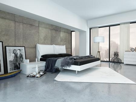 Modern interieur met een tweepersoons slaapbank, lambrisering muur en grote vensters met een stedelijk en een ontbijt op een dienblad op de vloer slaapkamer Stockfoto