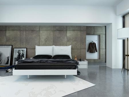 vestidos: Interior de escasamente decorada Dormitorio moderno con cama Foto de archivo