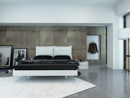 hotel bedroom: Interior of Sparsely Decorated Modern Bedroom with Bed