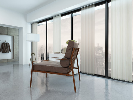 blinds: Modern Chair in Apartment Decorated in Minimalist Style near Windows