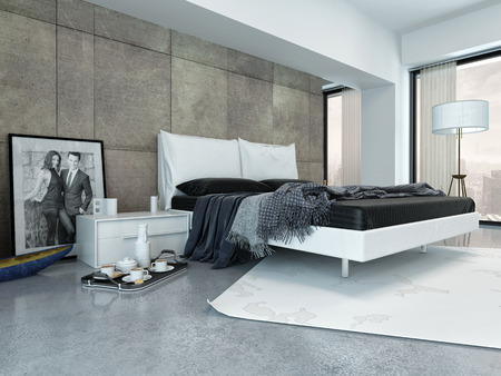 Interior of Modern Bedroom with Tray Beside Bed and Decorated in Minimalist Style