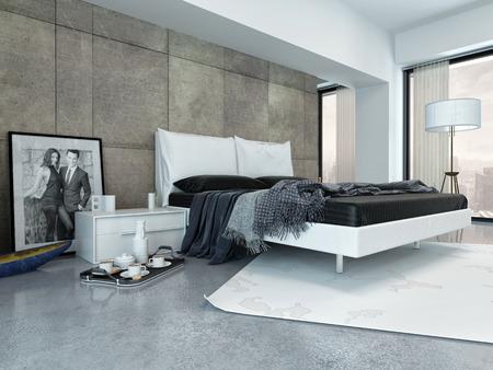 Grey: Nội thất phòng ngủ hiện đại với Tray Bên cạnh giường ngủ và trang trí theo phong cách tối giản Kho ảnh