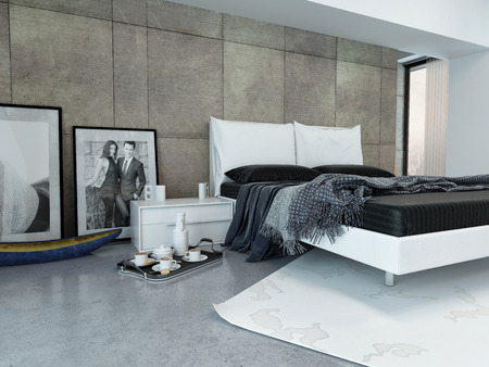 Interior of Modern Bedroom with Tray Beside Bed and Decorated in Minimalist Style photo