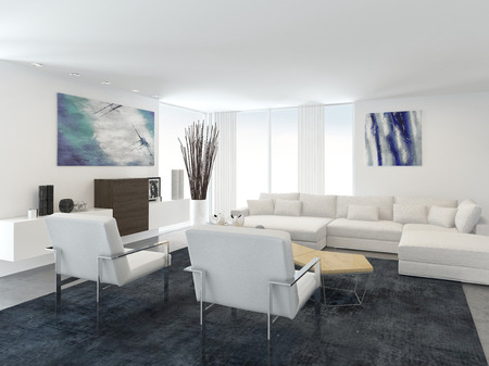 ceiling plate: Interior of Modern Living Room in Apartment with Large Floor to Ceiling Windows