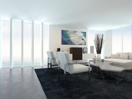 Interior of Modern Living Room in Apartment with Large Floor to Ceiling Windows photo