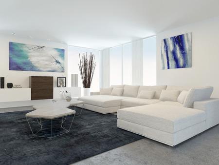 白い家具とモダンなリビング ルームのインテリア 写真素材