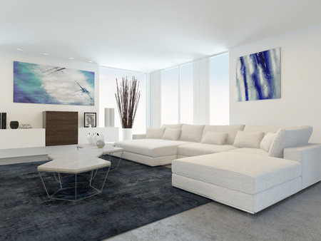 Interior of Modern Living Room with White Furniture