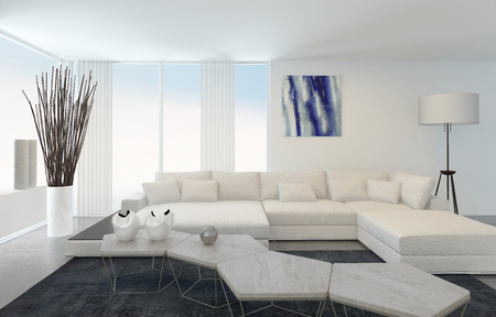 Interior of Modern Living Room with White Furniture photo