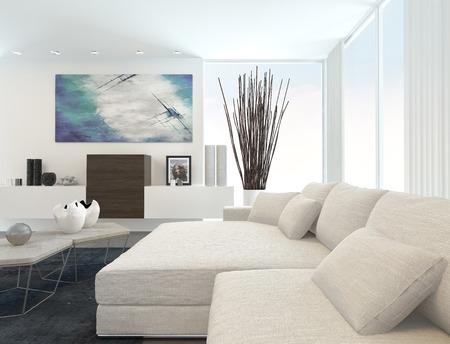 アパートメント白い家具付けでモダンなリビング ルームのインテリア