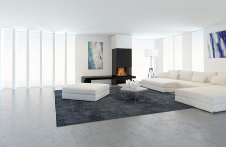 Interiér moderního obývacího pokoje v apartmánu s krbem a bílým nábytkem