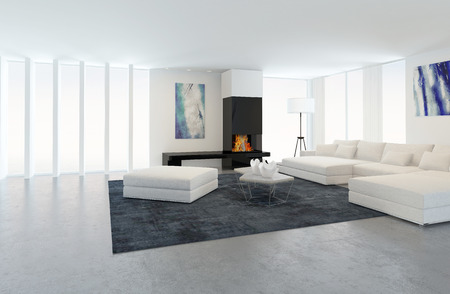 Interior of Modern Living Room in Apartment with Fireplace and White Furniture photo