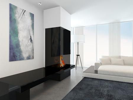das innere der modernen wohnzimmer in wohnung mit kamin und weiße ... - Wohnzimmer Weiße Möbel