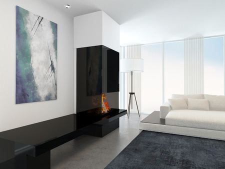 chimneys: Interior of Modern Living Room in Apartment with Fireplace and White Furniture