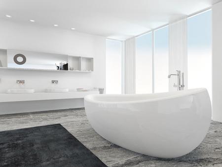 canicas: Muy espacioso, luminoso interior moderno cuarto de baño con ventanas del piso al techo de placas en dos lados y un tocador de pared doble con paredes blancas y un suelo de baldosas de mármol