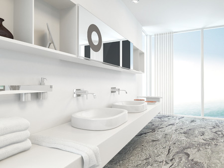 Modern wall mounted white double vanity unit with hand basins, mirrors and folded towels with a floor to ceiling panoramic window with blinds in the background