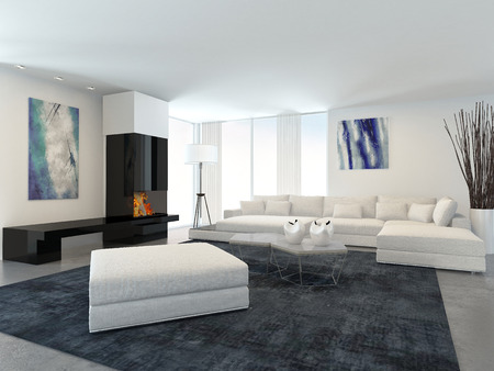 Interior of Modern Living Room in Apartment with Fireplace and White Furniture