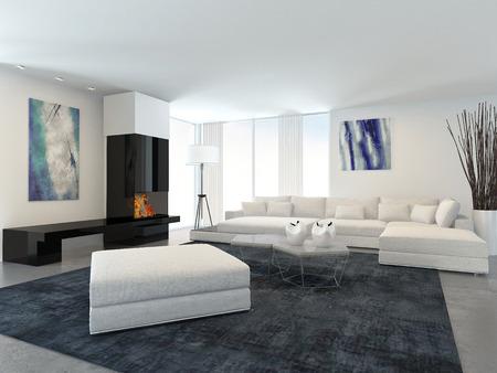 chimney corner: Interior de la moderna sala de estar en el apartamento con chimenea y Blanco Muebles