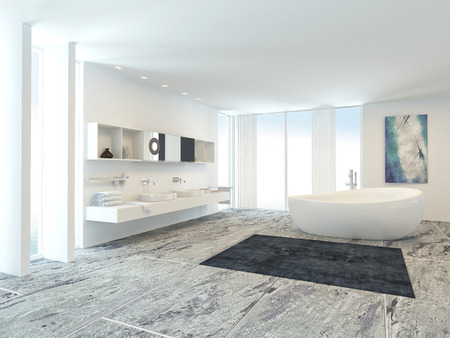 Luxury light bright white modern bathroom interior with a freestanding bathtub and wall mounted double vanity, long windows and a tiled marble floor