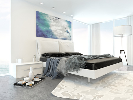 hospitality: Interior of Modern White Bedroom in Apartment with Bed and Minimal Furniture