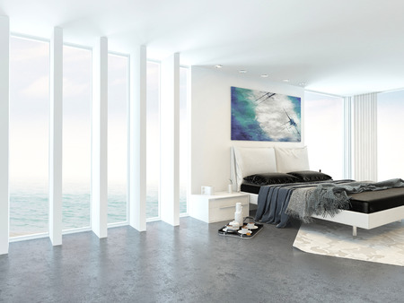 bedroom wall: Modern bright light bedroom interior with a double divan bed alongside a floor to ceiling glass wall with a white ceiling in an apartment or condominium
