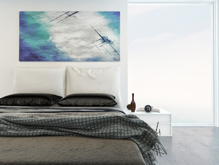 Comfortable bright bedroom interior with a close up view of a double bed with throw rugs under an abstract wall painting with a large view window alongside
