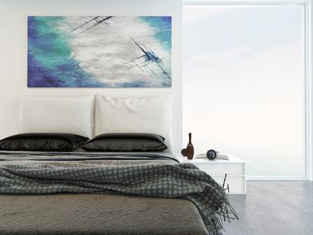 chambre Ã?  coucher: Intérieur de chambre lumineuse confortable avec une vue rapprochée d'un lit double avec des tapis sous une peinture murale abstraite avec une grande fenêtre de la vue aux côtés de Banque d'images