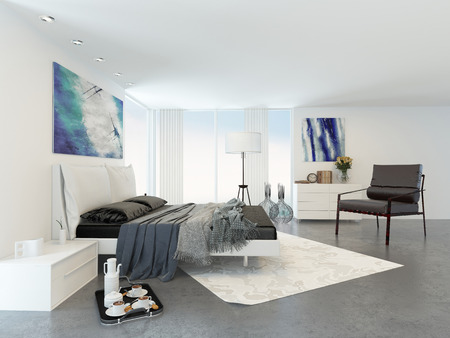 Bed and Chair in Modern Bedroom in Apartment Decorated in Minimalist Style photo