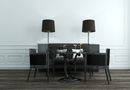 upscale: Modern Furniture in Sitting Room of Upscale Home with Table, Chairs, and Lamps