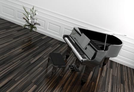 화분 흰색 깔린 방에 나무 마루 바닥의 키보드의 볼 수있는 오픈 그랜드 피아노의 높은 각도보기