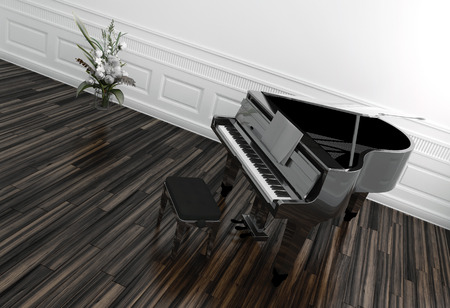 High angle view of an open grand piano with a view of the keyboard on a wooden parquet floor in a white paneled room with potted plant photo