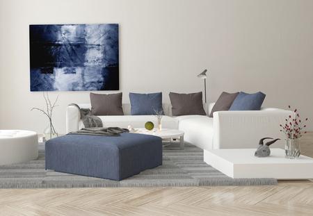 ソファ、オットマン、および壁にアートワークを持つモダンなリビング ルームのインテリア