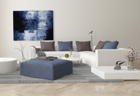 Interior of Modern Living Room with Sofa, Ottoman, and Artwork on Wall Stockfoto