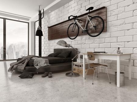 ladrillo: Modern Style Loft dormitorio en el apartamento con Exposed Brick Wall, tur�stica, y bicicletas Colgadas Foto de archivo