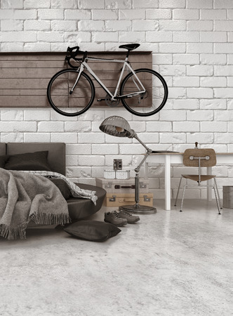 transport interior: Modern Loft Style Bedroom in Apartment with Furnishings, Round Bed, and Bicycle Hanging on Wall Stock Photo