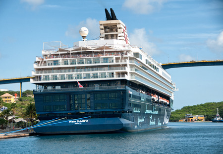 antilles: Large cruise liner docked off Willemstad in the Dutch Antilles a popular tourist destination  Editorial