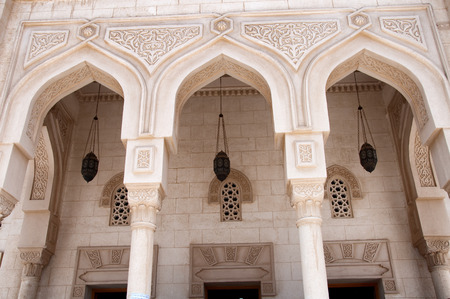 Detail of Arches on Facade of Aldahaar Mosque in Hurghada, Egypt photo