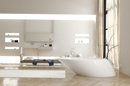 double volume: Modern bathroom with a funky white bathtub and wall mounted vanity units and cabinets with a bright airy double volume and large window in a luxury residence