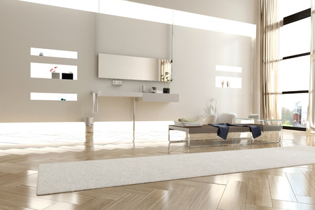 Interior of Modern White Brighty Lit Bathroom in Apartment with Large Windows photo